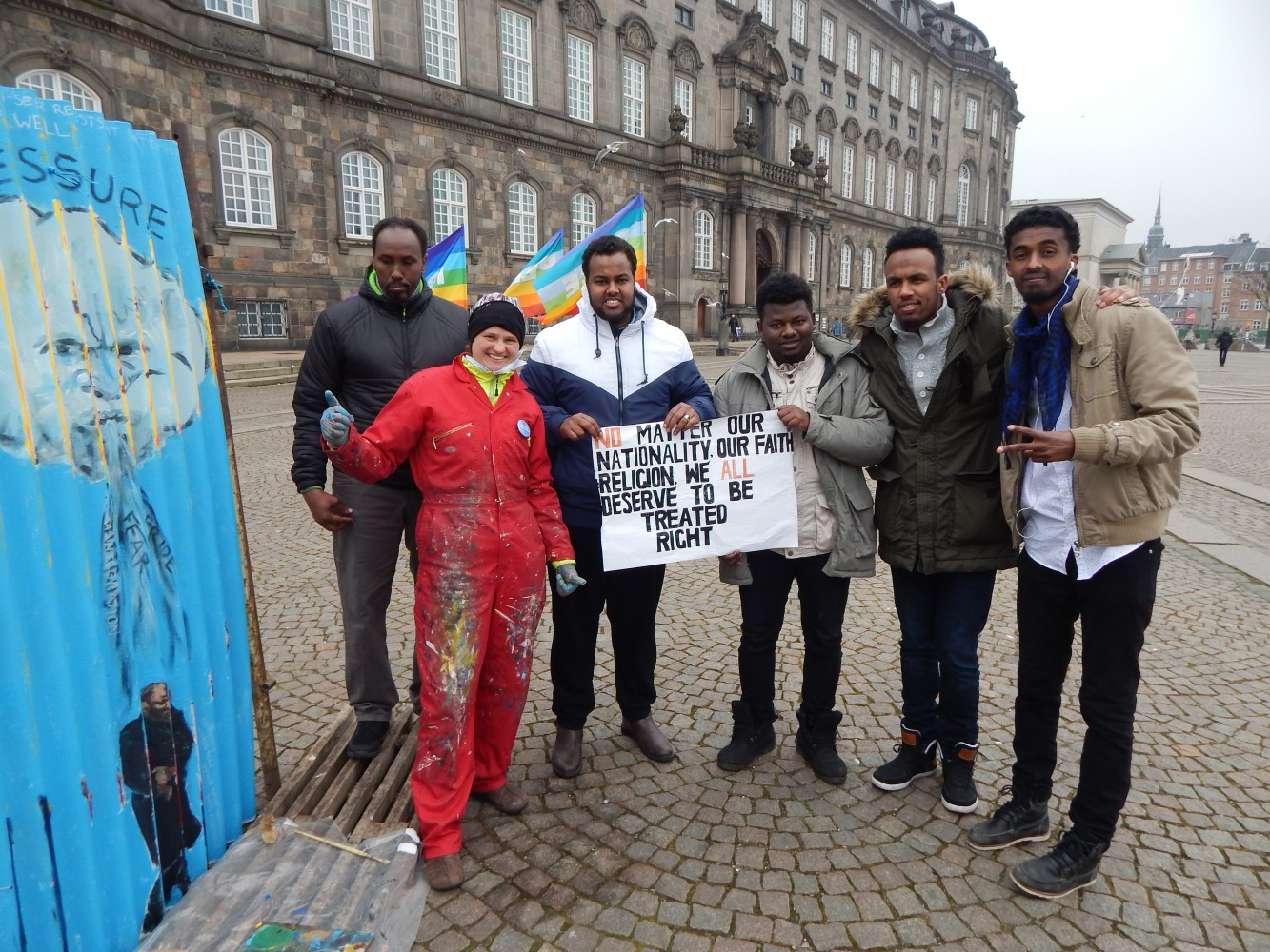 Leah with Somalian refugees outside the Danish parliament