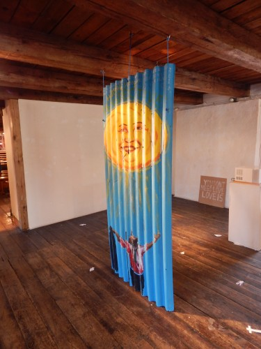Sun and the wind painting hung at Gallopperiet, Christiania, Denmark
